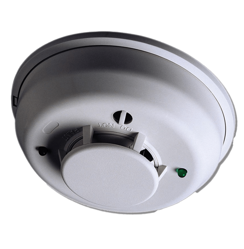 Residential Smoke detector used with Home Security System for Fire Alerts