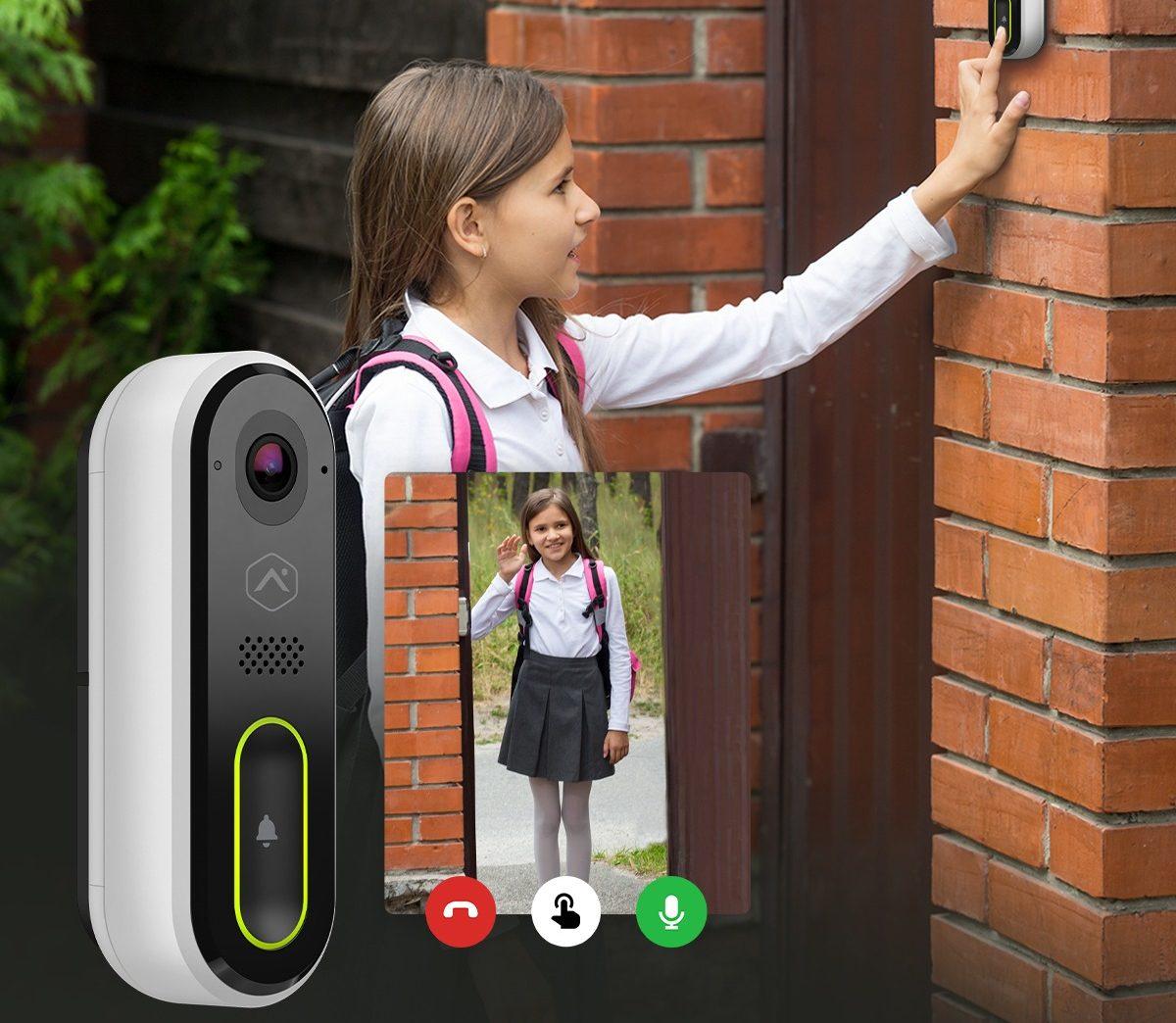 Amherst Alarm Video Doorbell girl using after school