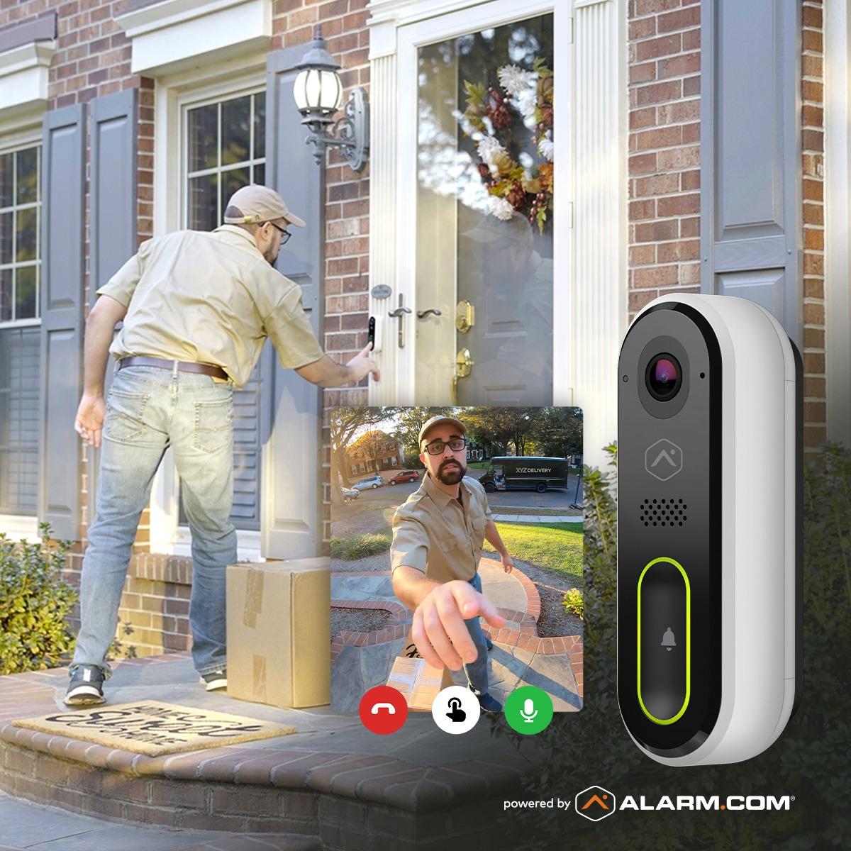 ups usps fedex driver using Amherst Alarm video doorbell alarm.com