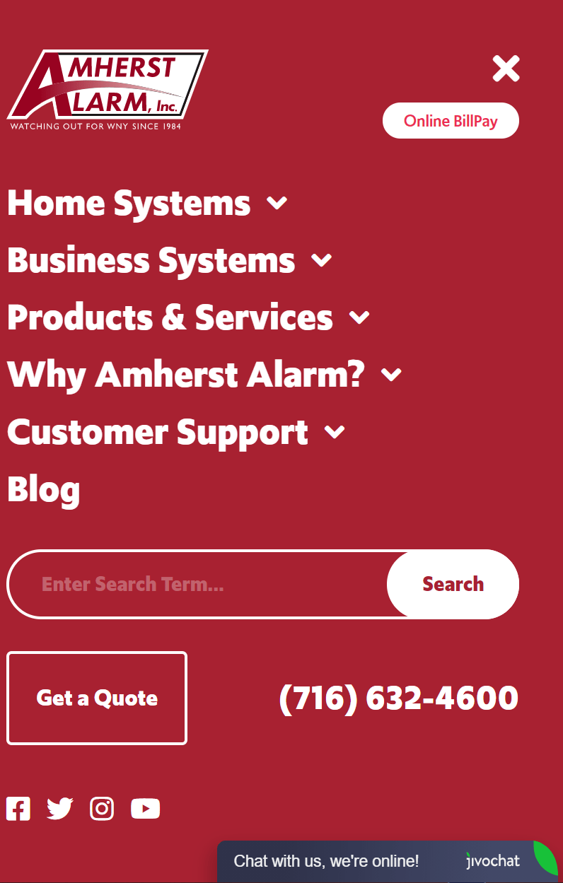 Amherst Alarm navigational panel on website user friendly