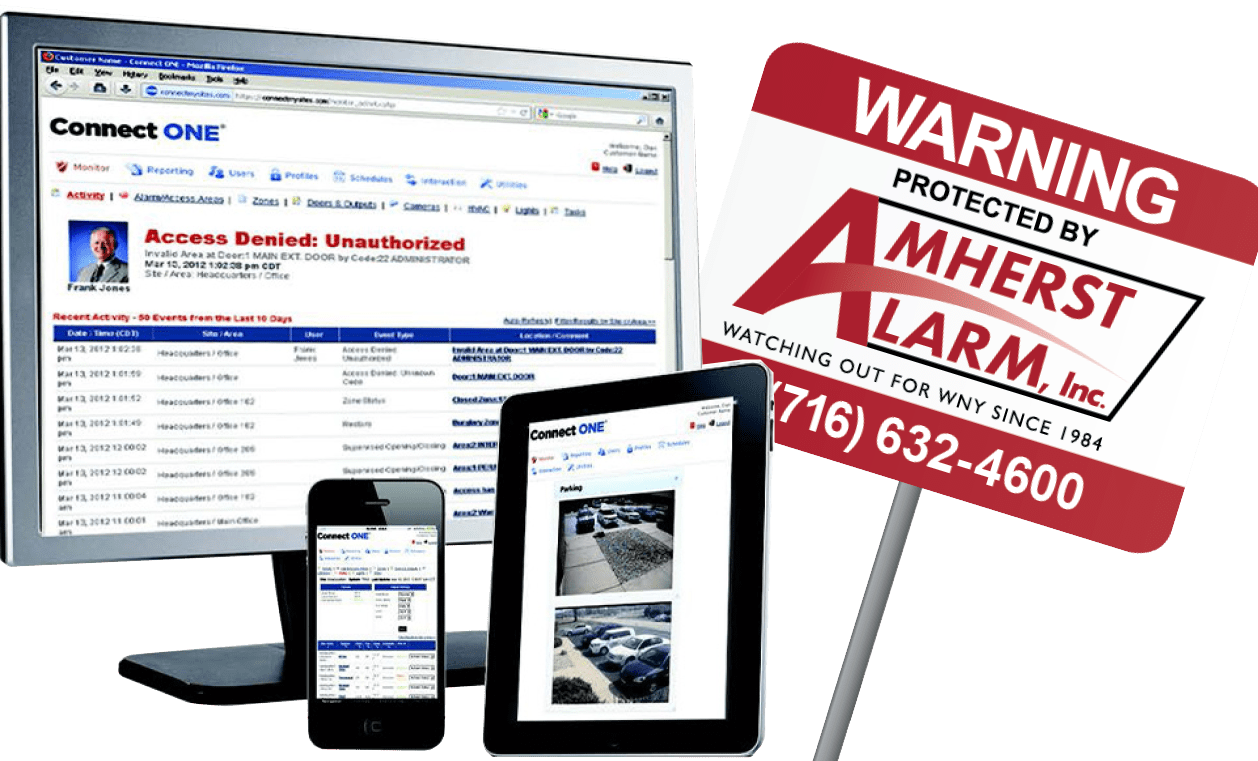 Amherst Alarm connect one business security system mobile applications
